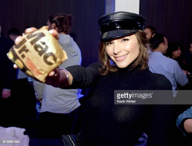 Actor Olivia Culpo attends the Bootsy Bellows After Party for the 'Big Game Experience' with McDonald's Mac Jr sandwiches presented by American...