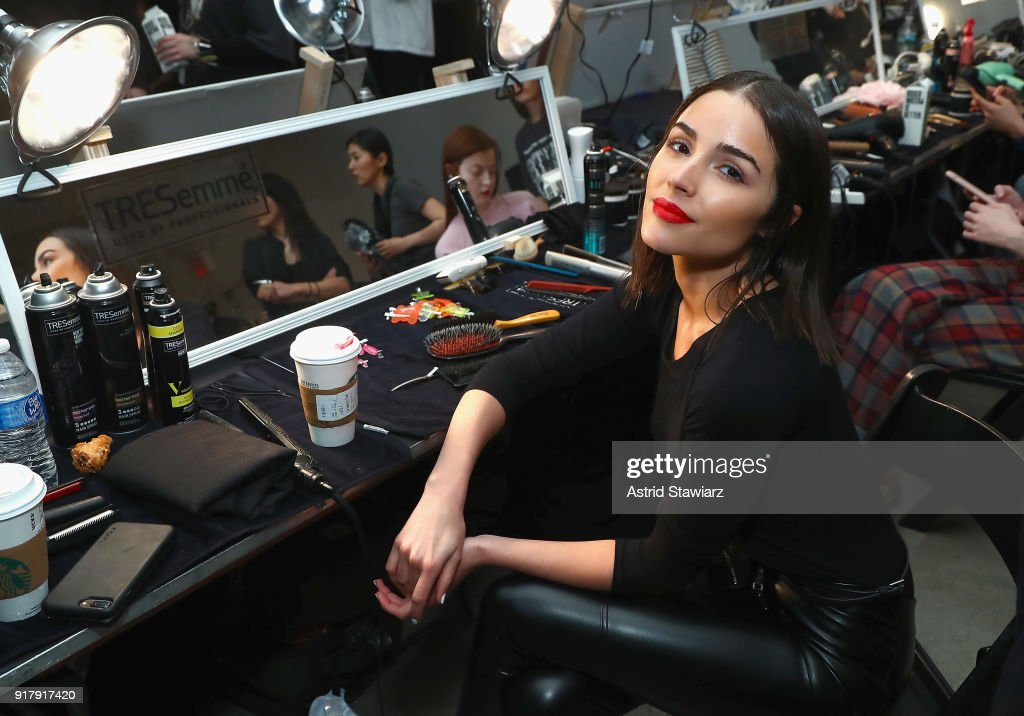 Actor Olivia Culpo poses backstage with TRESemme At Sally La Pointe NYFW AW18 on February 13, 2018 in New York City.