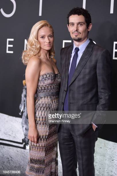 Actor Olivia Hamilton and director/producer Damien Chazelle attend the First Man premiere at the National Air and Space Museum on October 4 2018 in...