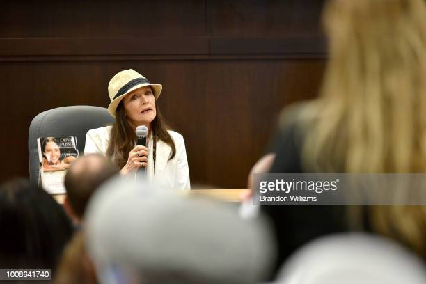 Actor Olivia Hussey speaks during the release event for her new book The Girl on the Balcony at Barnes Noble at The Grove on July 31 2018 in Los...