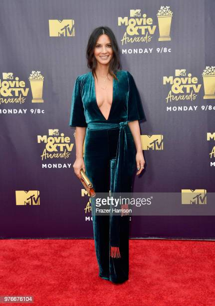 Actor Olivia Munn attends the 2018 MTV Movie And TV Awards at Barker Hangar on June 16 2018 in Santa Monica California