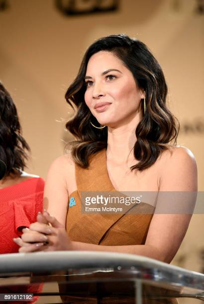 Actor Olivia Munn speaks at the 24th Annual Screen Actors Guild Awards Nominations Announcement at Silver Screen Theater on December 13 2017 in West...