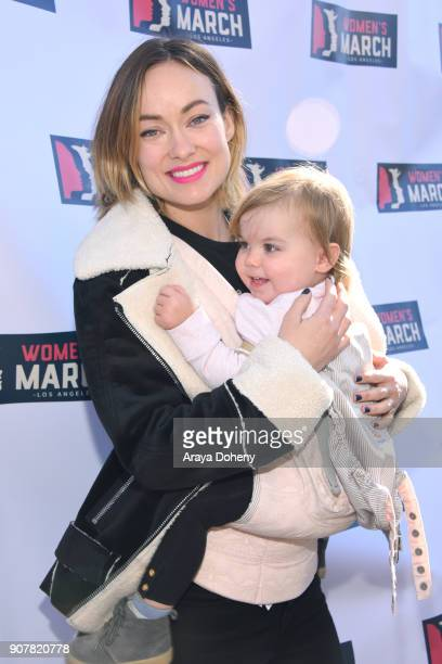 Actor Olivia Wilde and Daisy Josephine Sudeikis at 2018 Women's March Los Angeles at Pershing Square on January 20 2018 in Los Angeles California