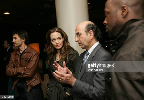 Actor Olivier Martinez actor/director Angelina Jolie Chancellor of New York City schools Joel Klein and recording artist Wyclef Jean speak with New...