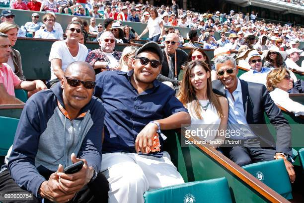 Actor Omar Benson Miller and his brother with Journalist Rachid M'Barki and his companion Bouchra attend the 2017 French Tennis Open Day Height at...