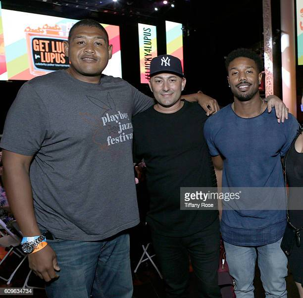 Actor Omar Benson musician Dennis DeSantis and actor Michael B Jordan attend the Get Lucky for Lupus LA Celebrity Poker Tournament at Avalon on...