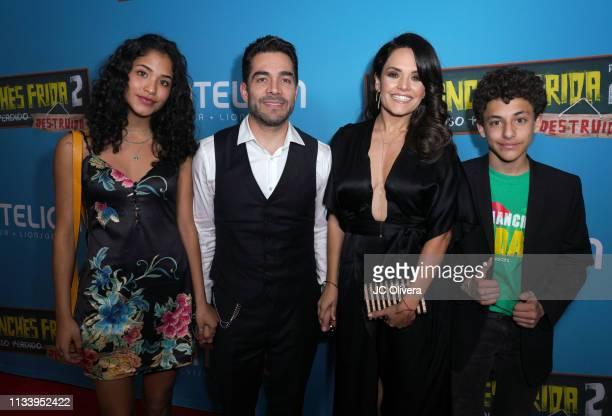 Actor Omar Chaparro wife Lucia Ruiz de la Pena and their children attend the premiere of Pantelion Films' ' No Manches Frida 2' at Regal Cinemas LA...