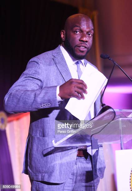 Actor Omar Dorsey speaks onstage at 2017 BronzeLens Women SuperStars Luncheon at Westin Peachtree Plaza on August 25 2017 in Atlanta Georgia