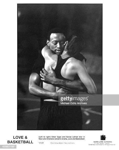 Actor Omar Epps and actress Sanaa Lathan on set of the New Line Cinema movie ' Love Basketball ' circa 2000