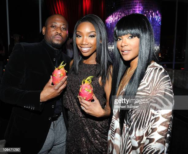 Actor Omar Epps, singer Brandy and Keisha Spivey attend the Rolling Stone Awards Bash presented by Skyy Dragon Fruit and T-Mobile at Drai's Hollywood...