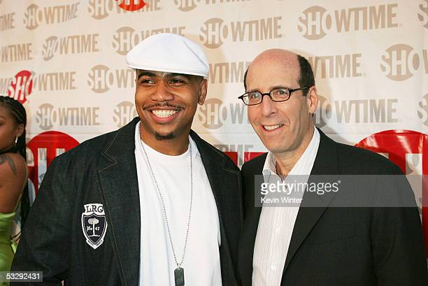 Actor Omar Gooding and Showtime's Chairman and CEO Matt Blank pose at the premiere screenings of Showtime's Weeds and Barbershop at Paramount Studios...