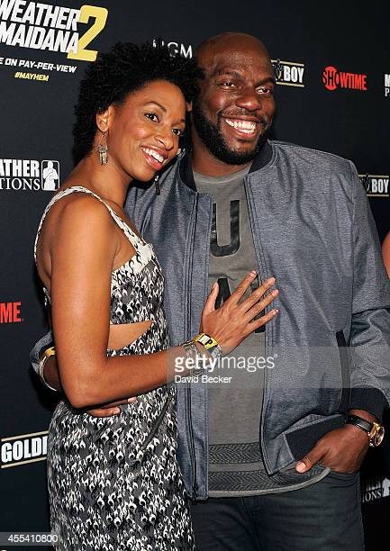 Actor Omar J Dorsey and wife Conisha Dorsey arrives at Showtime's VIP prefight party for 'Mayhem Mayweather vs Maidana 2' at the MGM Grand Garden...