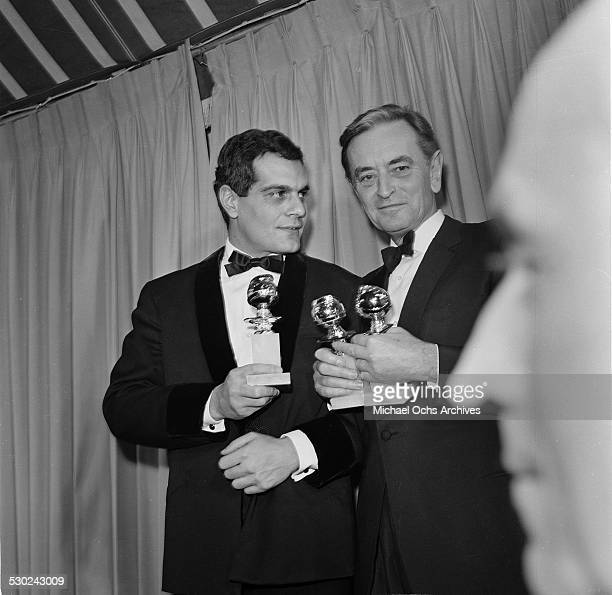 """Actor Omar Sharif and Director David Lean pose with their Golden Globe Awards for """"Lawrence of Arabia"""" in Los Angeles,CA."""