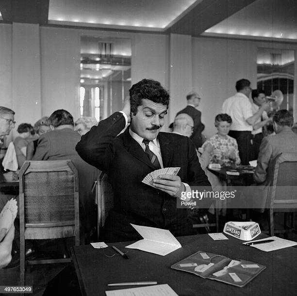Actor Omar Sharif taking part on a bridge tournament at the Grand Hotel Folkestone June 26th 1964