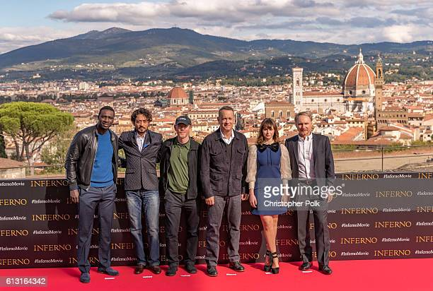 Actor Omar Sy actor Irrfan Kahn director Ron Howard actor Tom Hanks actress Felicity Jones and author Dan Brown attend the INFERNO Photo Call at...