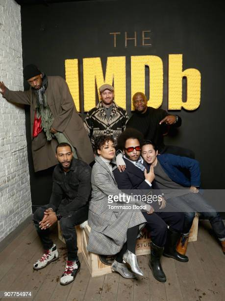 Actor Omari Hardwick director Boots Riley actors Armie Hammer Lakeith Stanfield Tessa Thompson Terry Crews and Steven Yeun attend The IMDb Studio and...