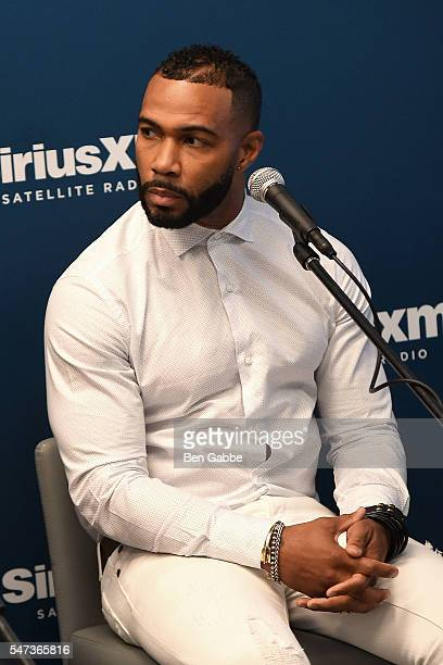 Actor Omari Hardwick is interviewed by Bevy Smith at SiriusXM's 'Town Hall' with the cast of 'Power' at SiriusXM Studios on July 14 2016 in New York...
