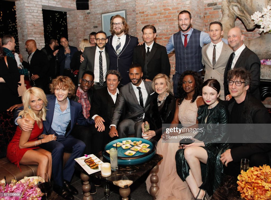 Actor Omid Abtahi, Writer/executive producer Bryan Fuller, actors Crispin Glover, Pablo Schreiber, Jonathan Tucker, Writer/executive producer Michael Green (Bottom L-R) actors Kristin Chenoweth, Bruce Langley, Orlando Jones, Ian McShane, Ricky Whittle, Cloris Leachman, Yetide Badaki, Emily Browning and writer Neil Gaiman attend the premiere of Starz's 'American Gods' after party on April 20, 2017 in Hollywood, California.