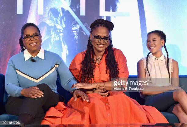Actor Oprah Winfrey Director Ava DuVernay and Actor Storm Reid participate in the press conference for Disney's 'A Wrinkle in Time' in Hollywood CA...
