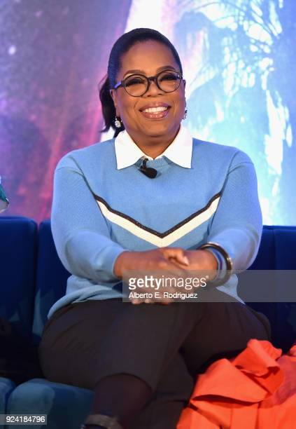 Actor Oprah Winfrey participates in the press conference for Disney's 'A Wrinkle in Time' in Hollywood CA on March 25 2018