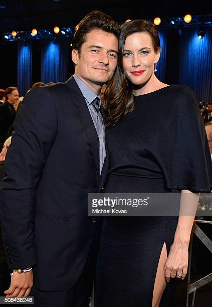 Actor Orlando Bloom and actress Liv Tyler attend the 21st Annual Critics' Choice Awards at Barker Hangar on January 17 2016 in Santa Monica California