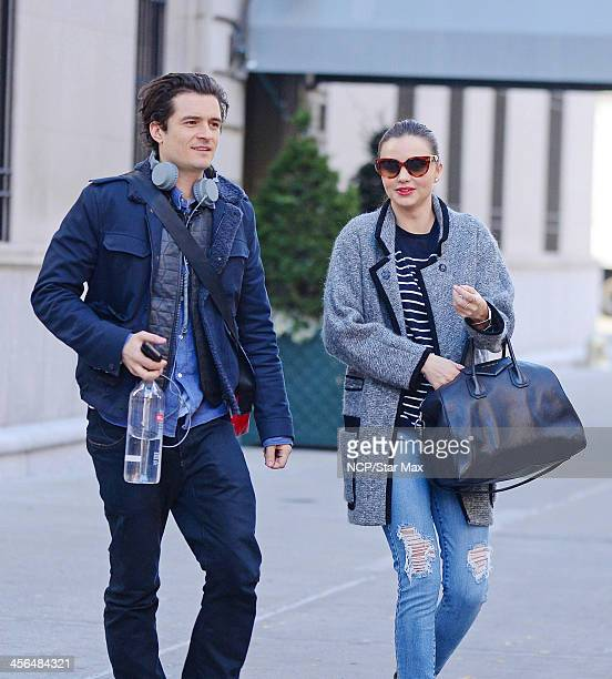 Actor Orlando Bloom and Miranda Kerr are seen on December 13 2013 in New York City