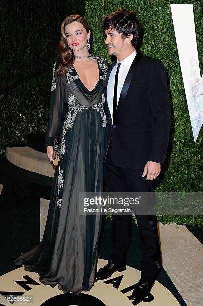 Actor Orlando Bloom and Miranda Kerr arrive at the 2013 Vanity Fair Oscar Party hosted by Graydon Carter at Sunset Tower on February 24 2013 in West...
