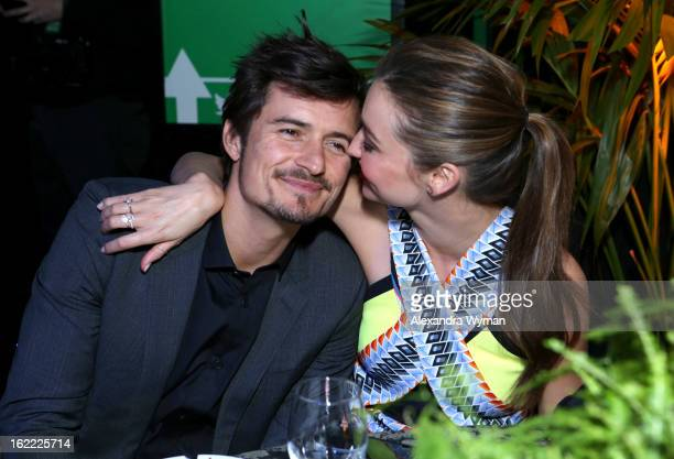 Actor Orlando Bloom and Miranda Kerr attend Global Green USA's 10th Annual PreOscar Party at Avalon on February 20 2013 in Hollywood California