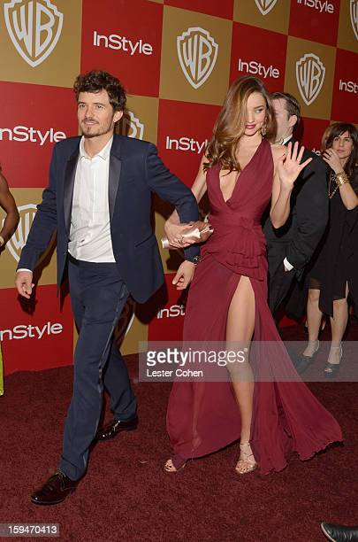 Actor Orlando Bloom and model Miranda Kerr attend the 2013 InStyle and Warner Bros 70th Annual Golden Globe Awards PostParty held at the Oasis...