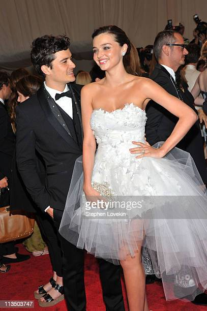 Actor Orlando Bloom and model Miranda Kerr attend the Alexander McQueen Savage Beauty Costume Institute Gala at The Metropolitan Museum of Art on May...