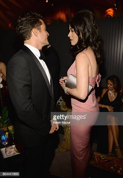 Actor Orlando Bloom and singer Katy Perry attend The Weinstein Company and Netflix Golden Globe Party presented with DeLeon Tequila Laura Mercier...