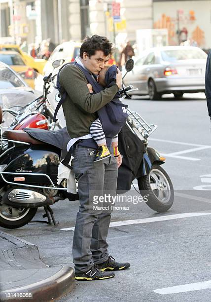Actor Orlando Bloom and son Flynn Bloom are seen on the streets of Manhattan on November 4 2011 in New York City