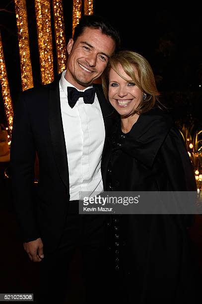 Actor Orlando Bloom and tv personality Katie Couric attend the launch of the Parker Institute for Cancer Immunotherapy an unprecedented collaboration...