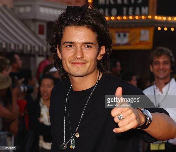 Actor Orlando Bloom arrives at the World Premiere of Pirates of the Caribbean The Curse of the Black Pearl on June 28 2003 at Disneyland in Anaheim...