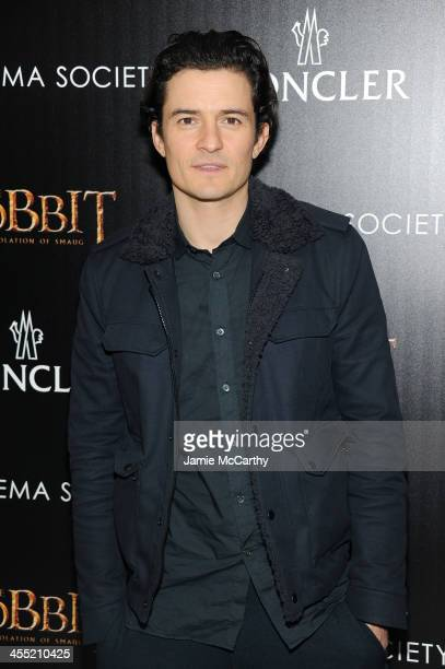 Actor Orlando Bloom attends New Line Cinema and MGM Pictures' screening of The Hobbit The Desolation of Smaug hosted by the Cinema Society and...