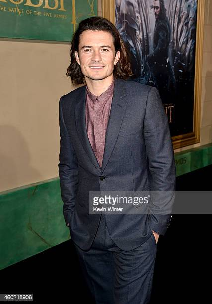 Actor Orlando Bloom attends the premiere of New Line Cinema MGM Pictures and Warner Bros Pictures' The Hobbit The Battle of the Five Armies at Dolby...