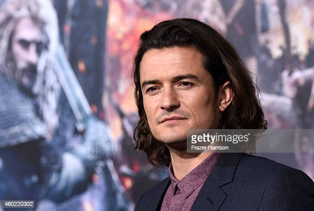 "Actor Orlando Bloom attends the premiere of New Line Cinema, MGM Pictures And Warner Bros. Pictures' ""The Hobbit: The Battle Of The Five Armies"" at..."