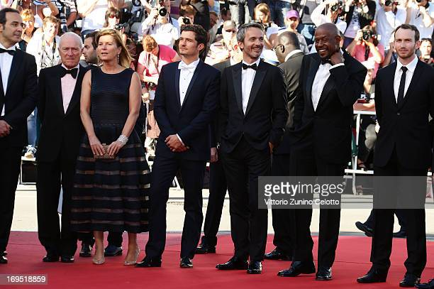 Actor Orlando Bloom director Jerome Salle and actors Forest Whitaker and Conrad Kemp attend the 'Zulu' Premiere and Closing Ceremony during the 66th...
