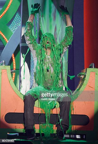 Actor Orlando Bloom is slimed during Nickelodeon's 2008 Kids' Choice Awards held at UCLA's Pauley Pavilion on March 29 2008 in Westwood California
