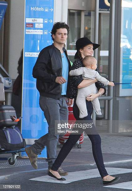 Orlando Bloom And Miranda Kerr Sighting At Orly Airport September 28