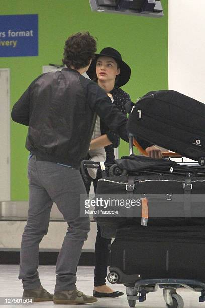 Actor Orlando Bloom Miranda Kerr and their baby Flynn are sighted at Orly airport on September 28 2011 in Paris France