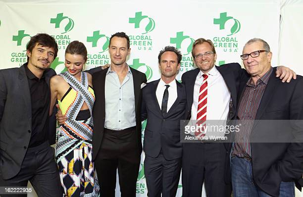 Actor Orlando Bloom model Miranda Kerr Global Green CoFounder Sebastian Copeland actor Walton Goggins Global Green CEO Matt Petersen and actor Ed...