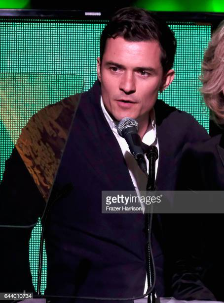 Actor Orlando Bloom speaks onstage during the 14th Annual Global Green Pre Oscar Party at TAO Hollywood on February 22 2017 in Los Angeles California