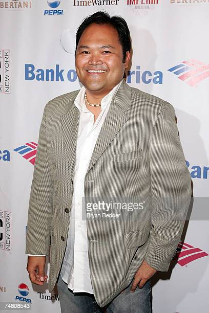 Actor Orville Mendoza arrives at the after party for the opening night of 'Romeo Juliet' at Shakespeare in the park at the Belvedere Castle on June...