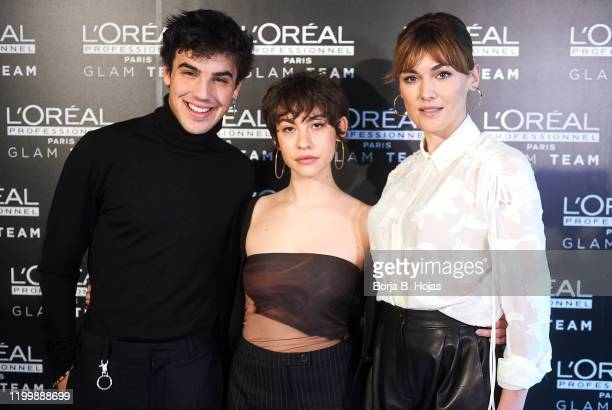 Actor Oscar Casas and actresses Greta Fernandez and Marta Nieto , nominated to Feroz Awards, attends a presentation by GLAM team L'Oreal ahead of the...