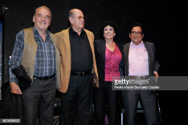 Actor Oscar Chávez producer Fernando Pérez Gavilán actress Julia Isabel de Llano Macedo and actor Ernesto Gómez Cruz pose during the 50th Anniversary...