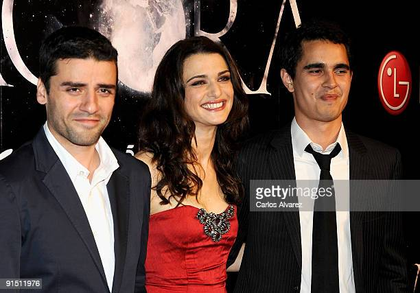 Actor Oscar Isaac actress Rachel Weisz and actor Max Minghella attend 'Agora' premiere at Kinepolis Cinema on October 6 2009 in Madrid Spain