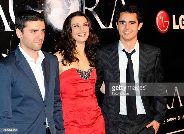Actor Oscar Isaac actress Rachel Weisz and actor Max Minghella attend the Agora premiere at Kinepolis Cinema on October 6 2009 in Madrid Spain