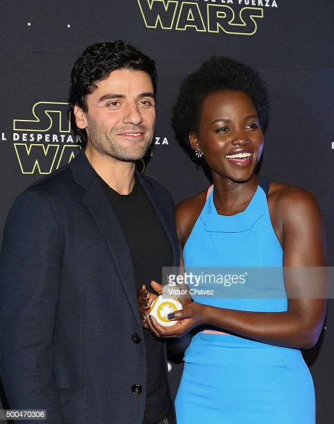 Actor Oscar Isaac and actress Lupita Nyong'o attend the 'Star Wars The Force Awakens' Mexico City photo call at St Regis Hotel on December 8 2015 in...