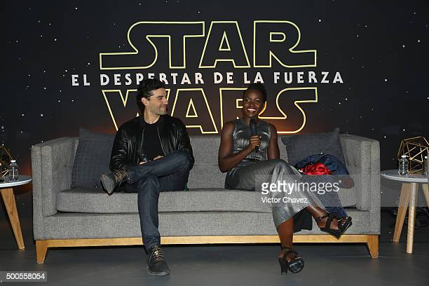 """Actor Oscar Isaac and actress Lupita Nyong'o attend the """"Star Wars: The Force Awakens"""" Mexico City premiere fan event at Cinemex Antara Polanco on..."""